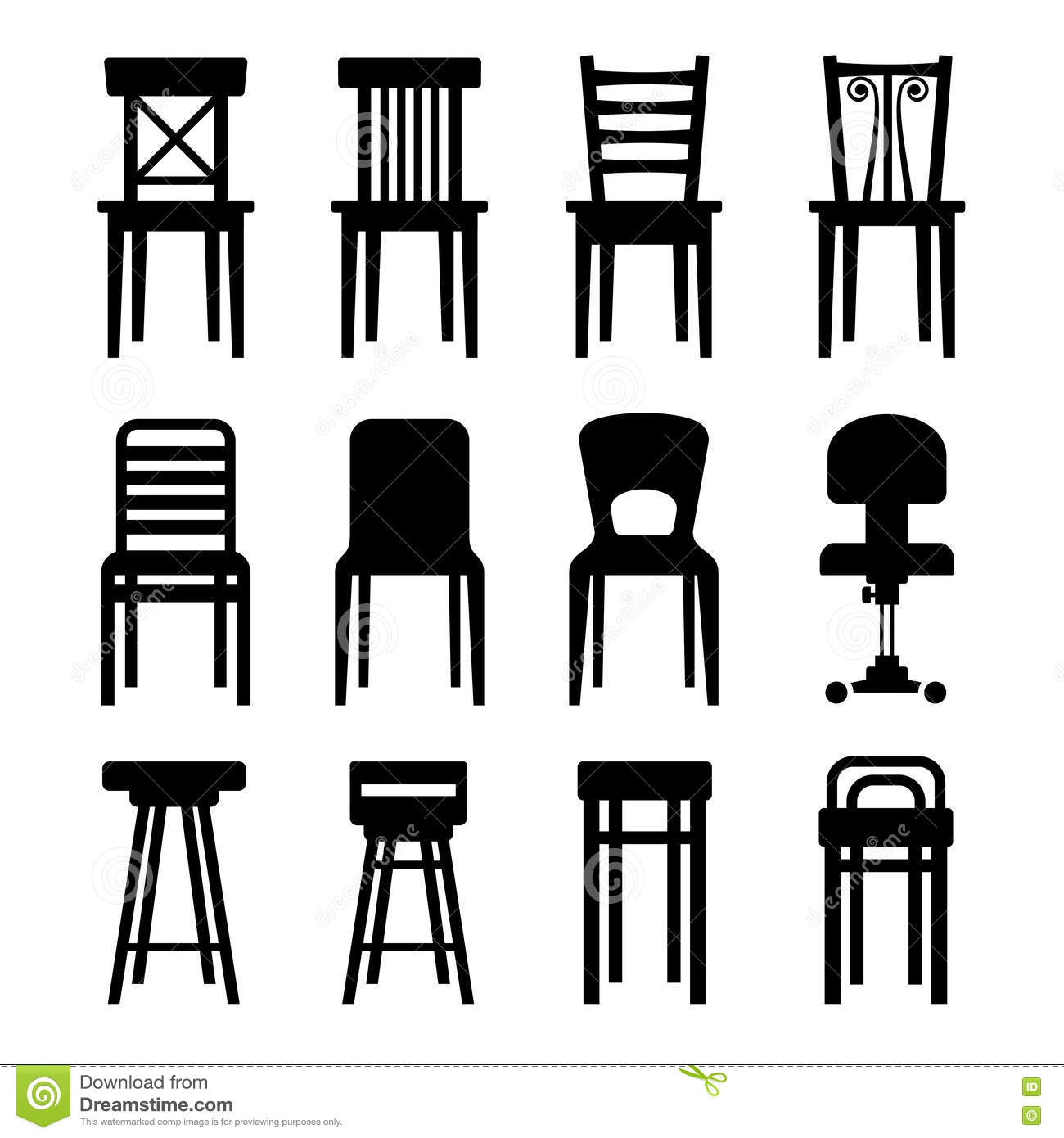 Old Modern Office And Bar Chairs Set Vector Stock
