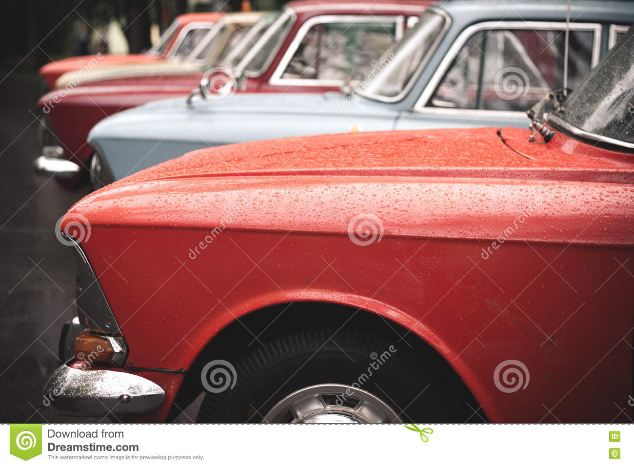 Old Moskvitch Cars Stock Photo Image