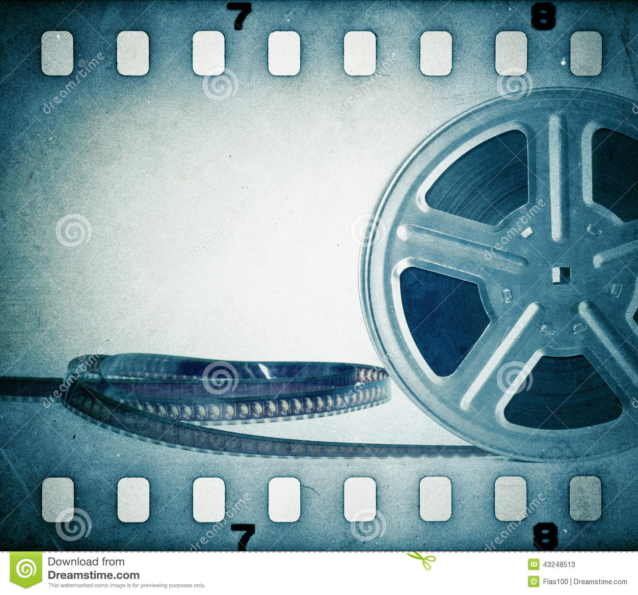Download Old Motion Picture Film Reel With Film Strip. Stock Image - Image of background, filmstrip: 43248513