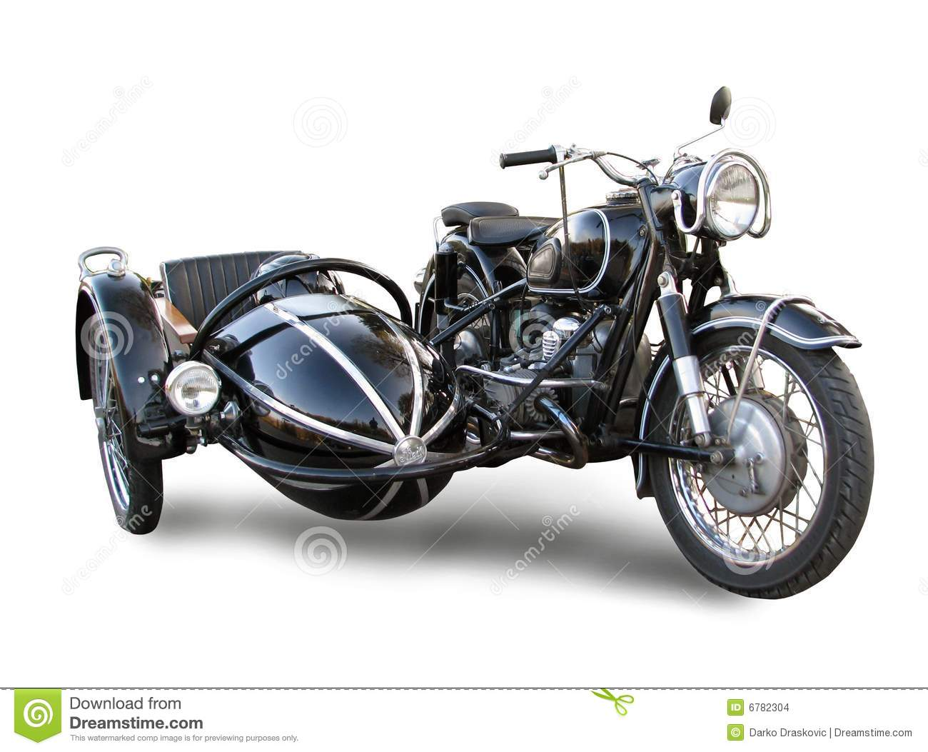 Old motorbike with trailer isolated over white.