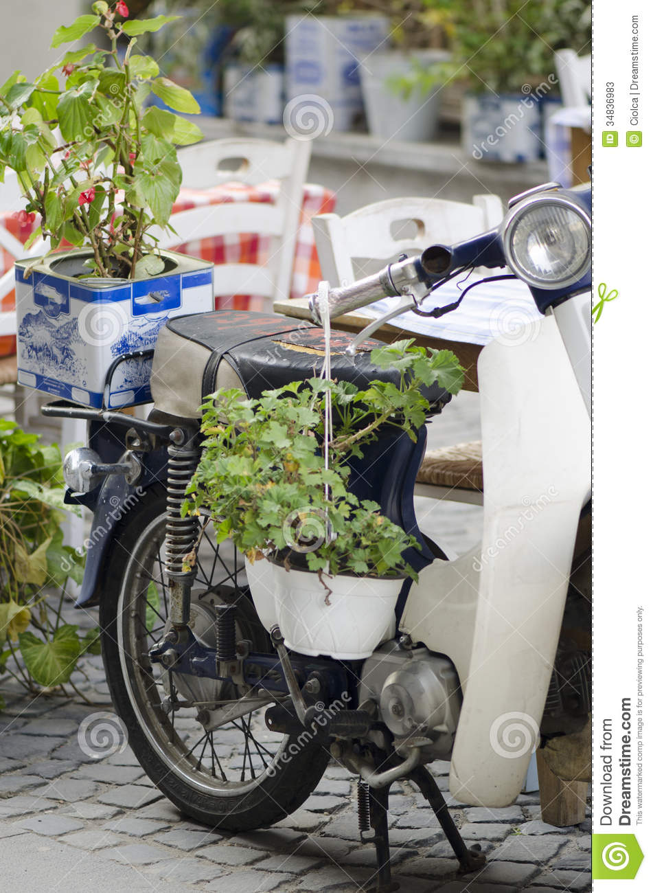 Old Motorcycle With Flowers Stock Photos Image 34836983