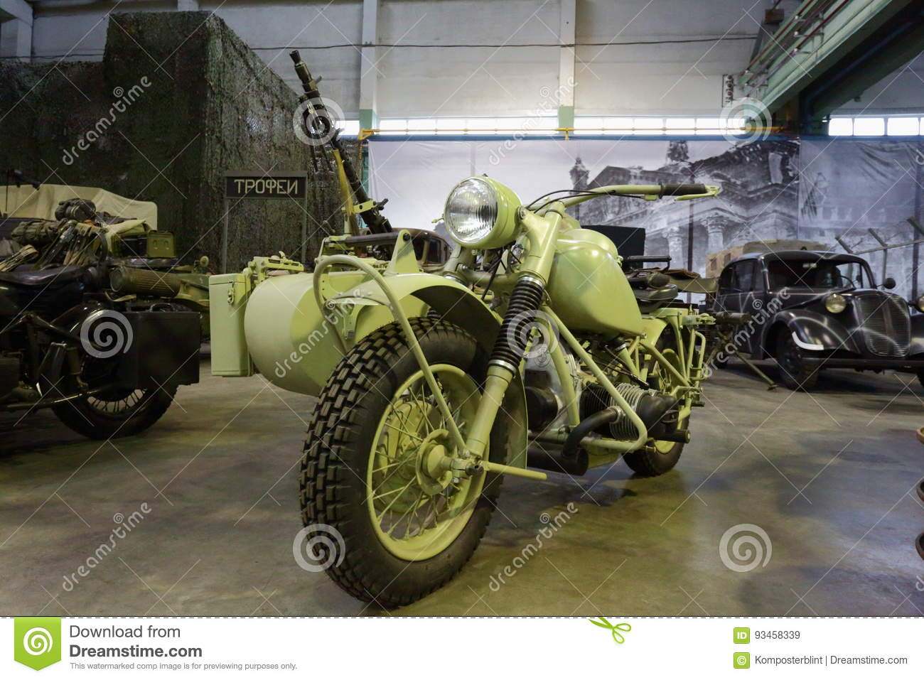 Old Motorcycle With Stroller And Machine Gun General View Editorial Stock Image Image Of Military Inside 93458339