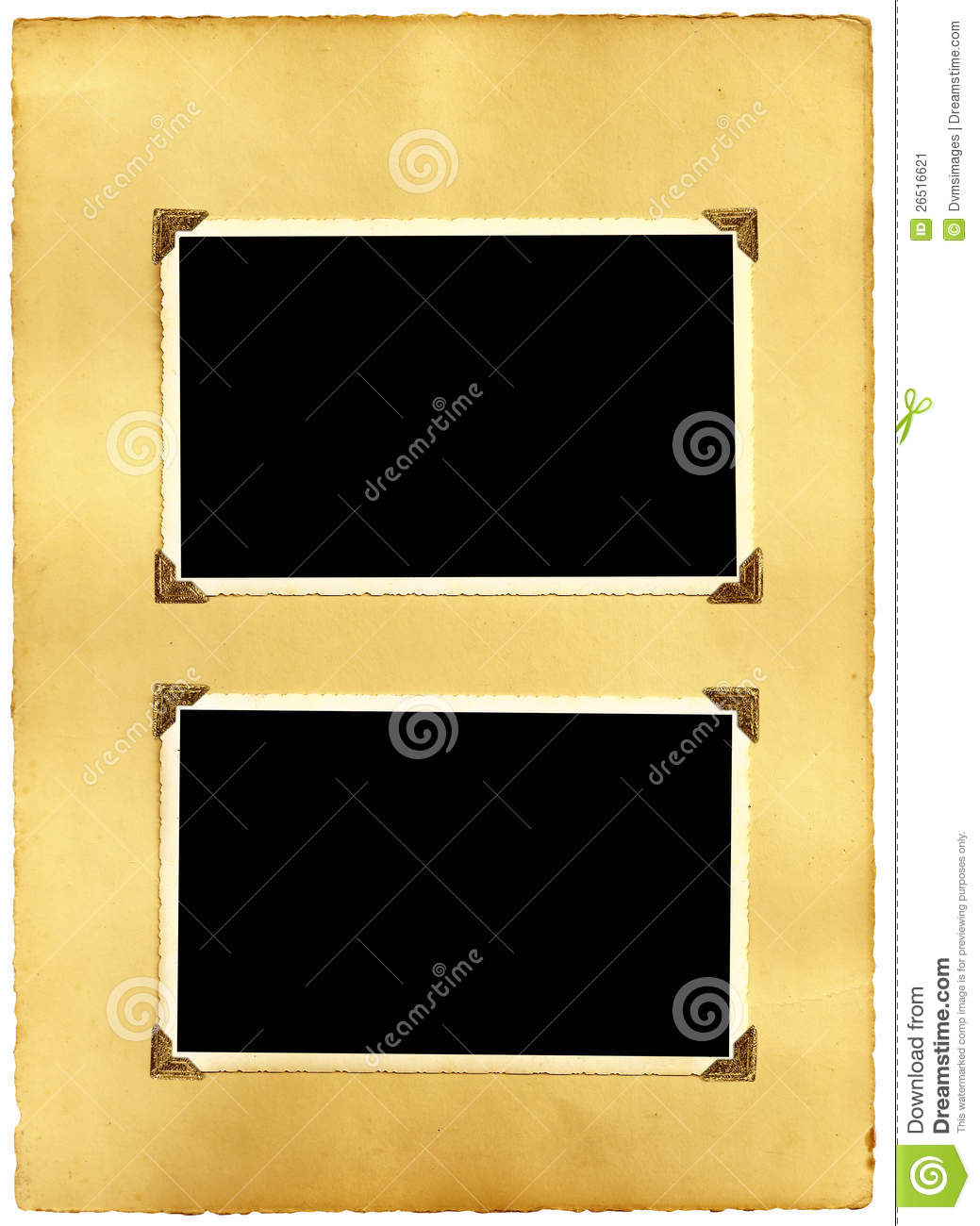 Old Vintage Photo Album Page Stock Image Image Of Corners Mounted