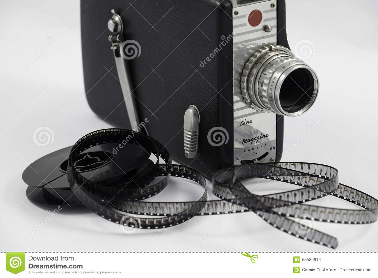 old movie camera and film reel stock photo image 65580614