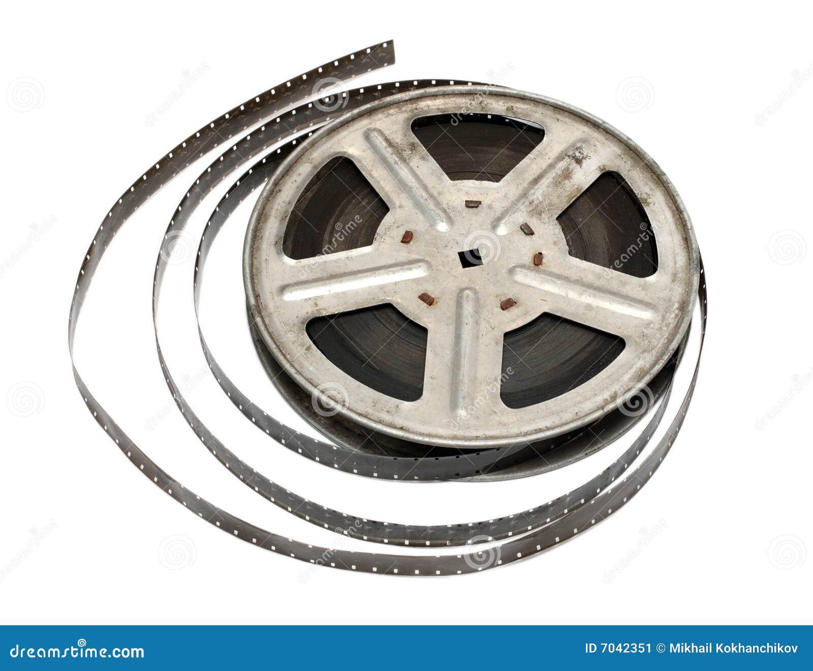 Old movie film on metal reel isolated on white