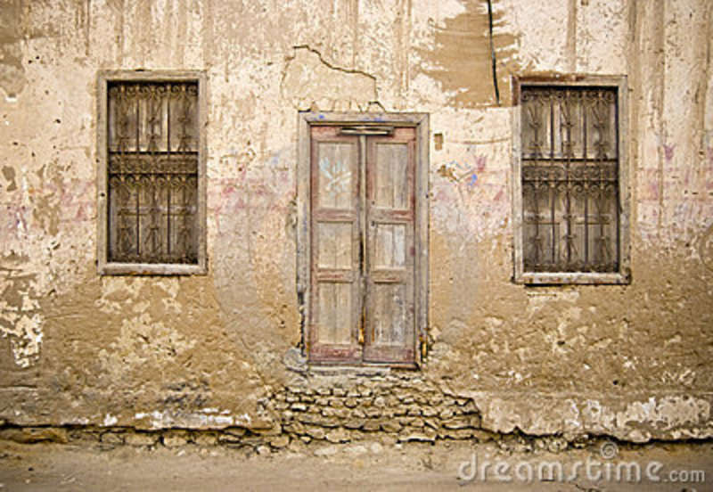 Old Mud Brick Wall With Door Stock Images Image 13438934