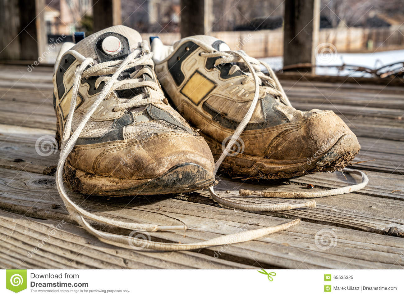 Old Muddy Running Shoes Stock Photo Image 65535325