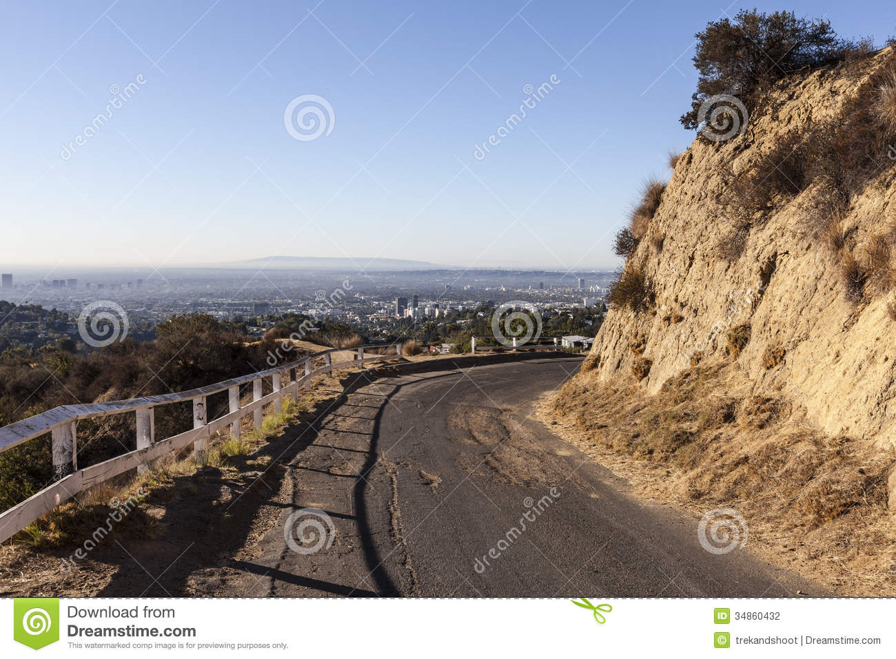 Griffith Park Road Overlooking Hollywood, California. Stock ...