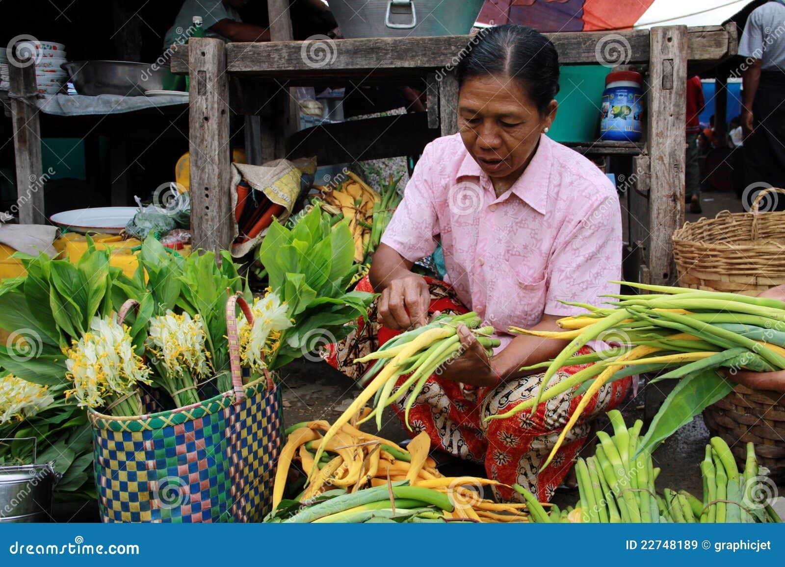 Old Myanmar Woman Selling Vegetables Editorial Stock Image