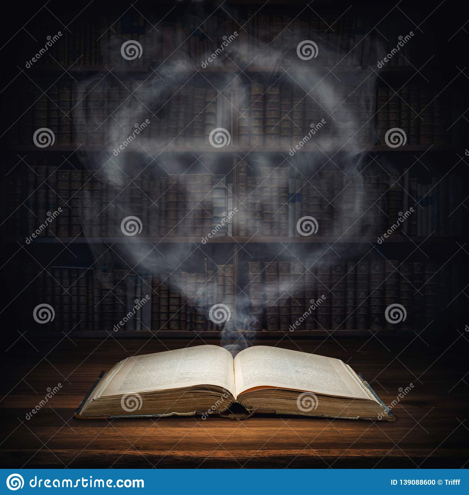 The Old Mysterious Book And The Smoke Coming Out Of It Is A