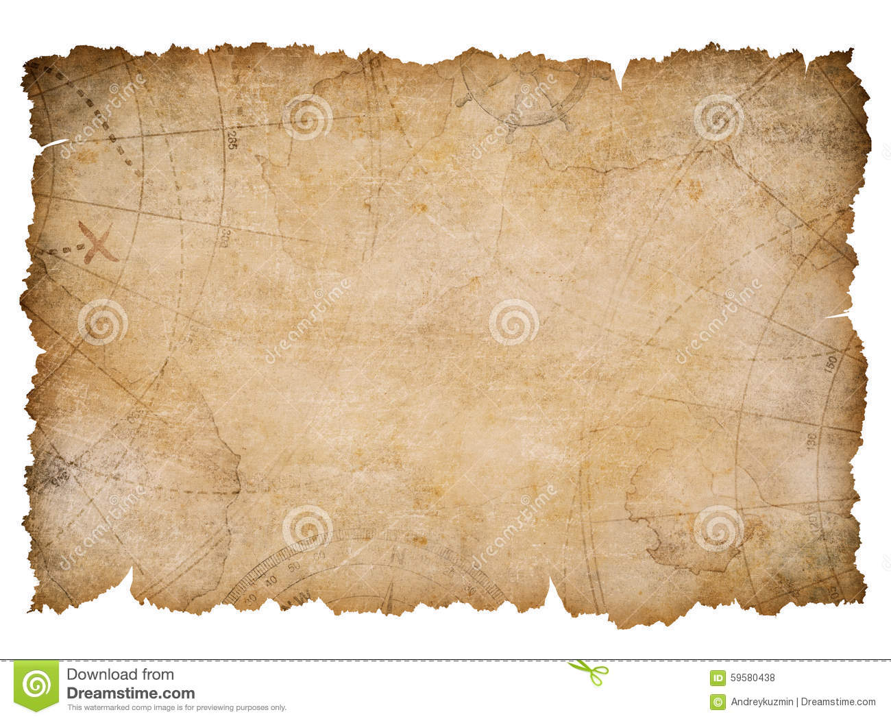Old Nautical Treasure Map With Torn Edges Isolated Stock