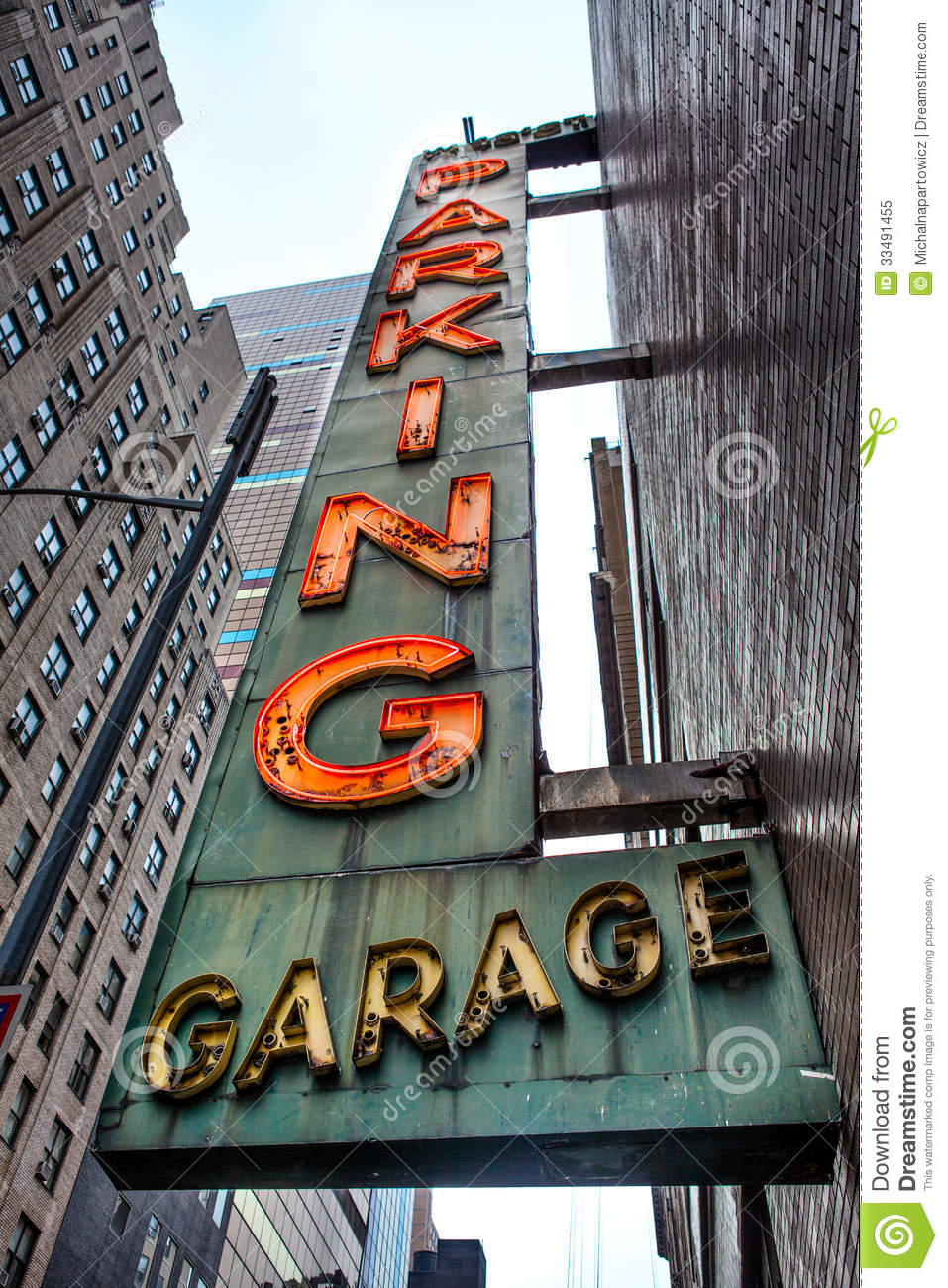 Old Neon Parking Garage Sign Stock Image Image Of City