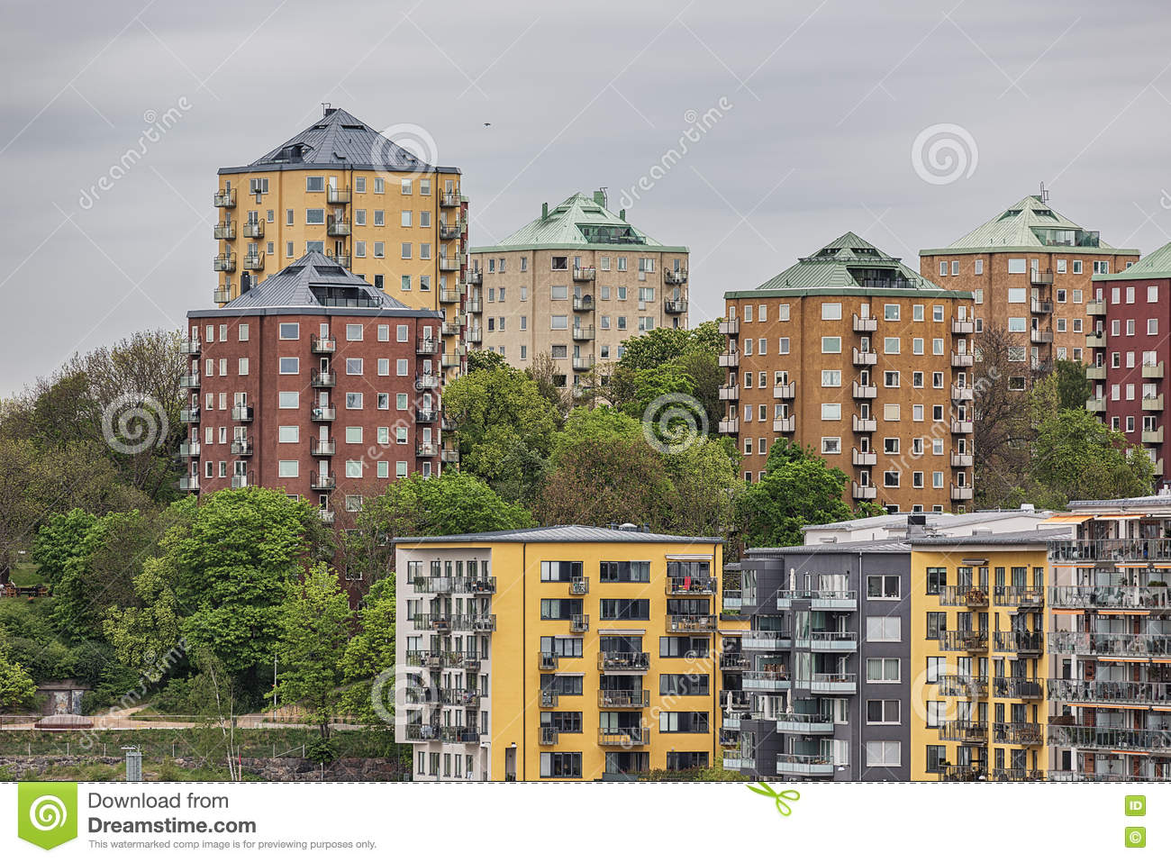 Old And New Apartment Buildings In Stockholm Stock Photo
