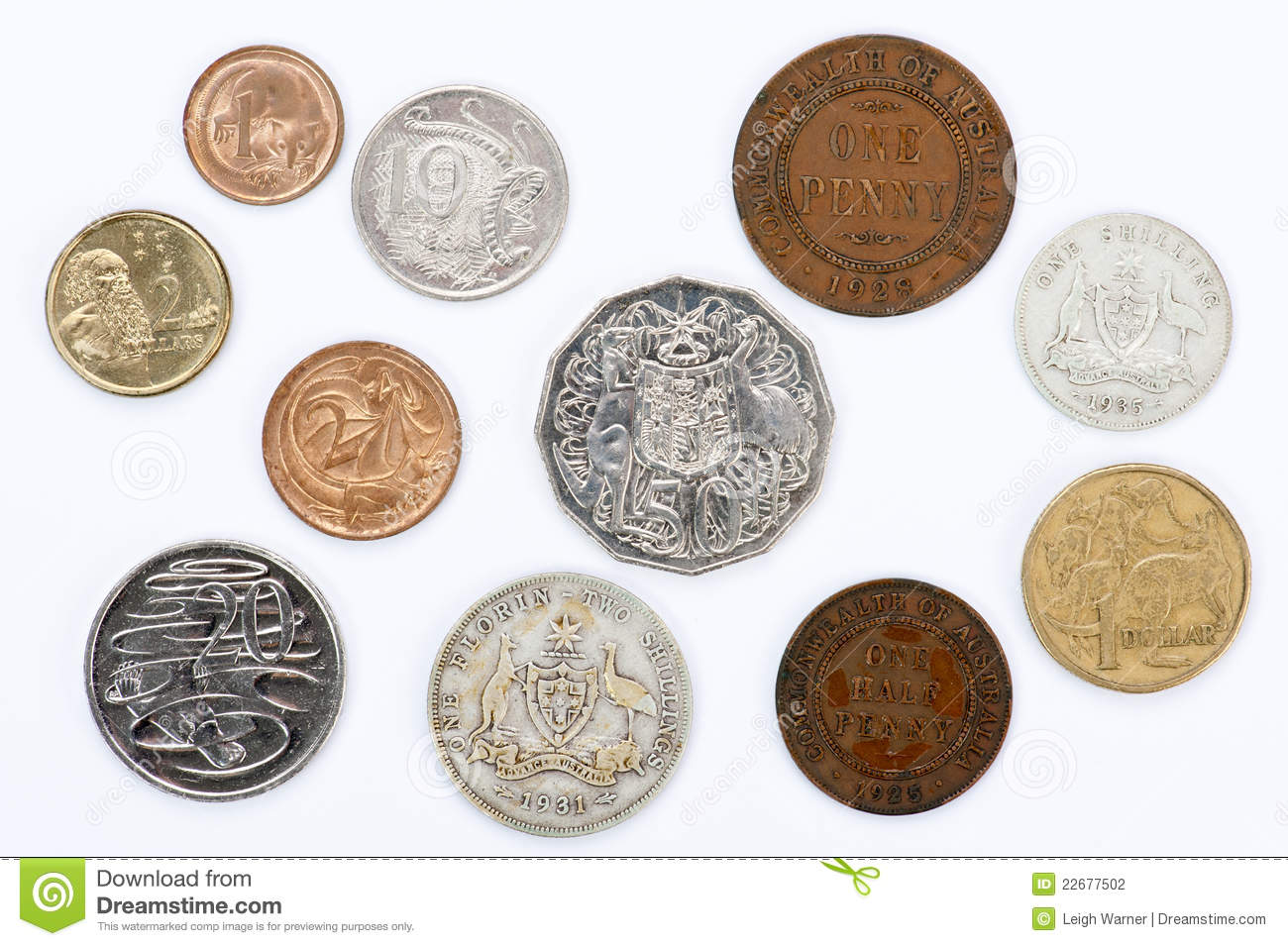 Old And New Australian Coins Stock Photography Image
