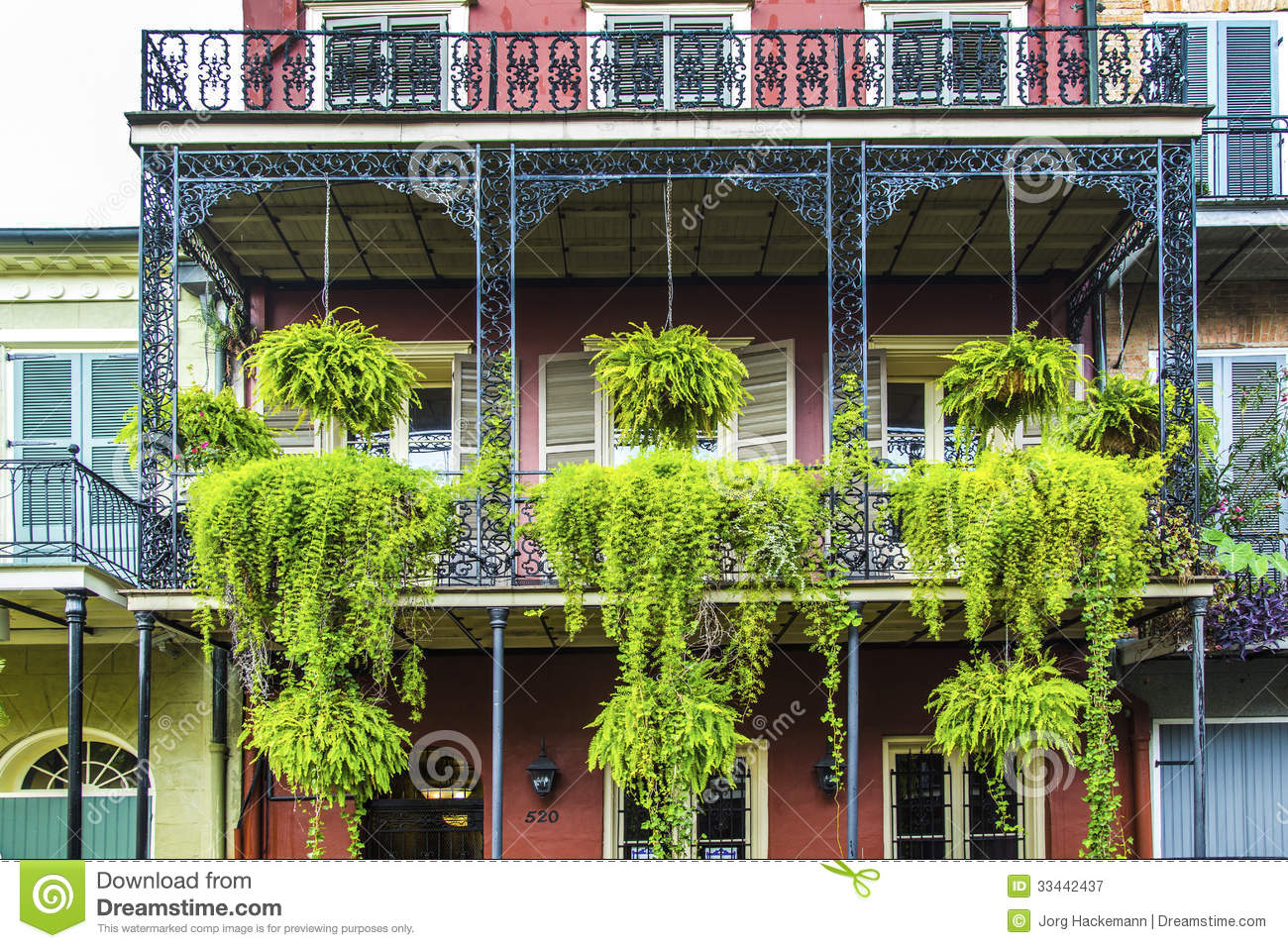 old new orleans houses in french royalty free stock