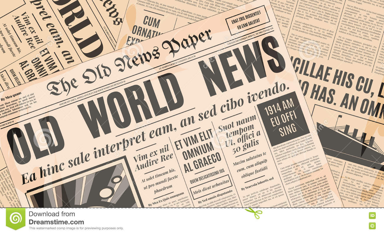 old newspaper design vector template stock vector