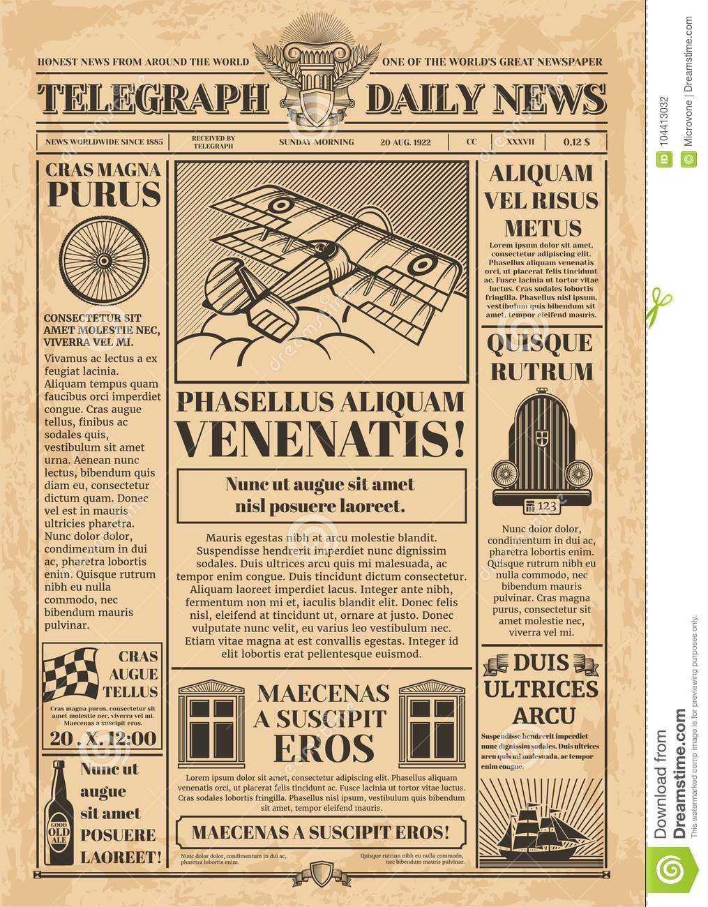 old newspaper vector template  retro newsprint with text and images stock vector