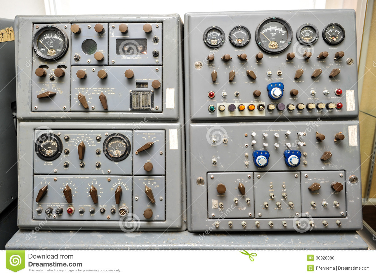 Time Control Panel : Old nike missile control panel with dials and lights stock
