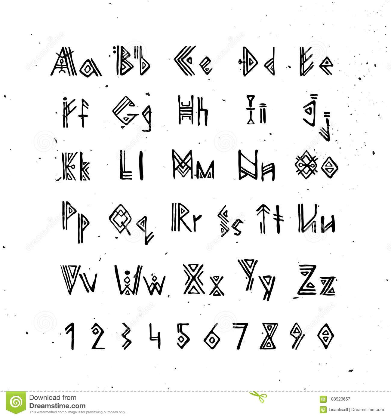 Old Norse Scandinavian Font Runic Alphabet Futhark Style Letters