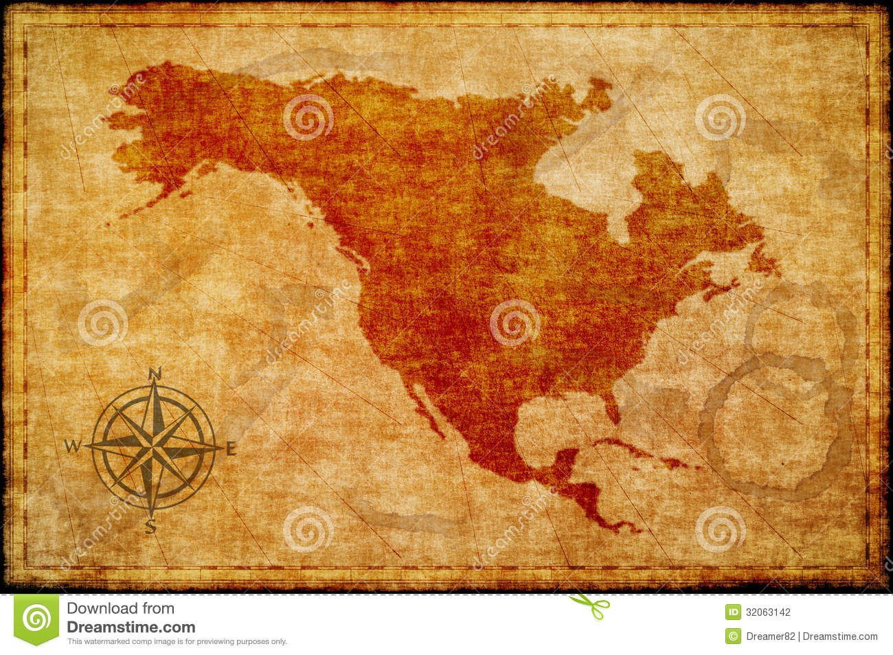 Old North America Map On Parchment Stock Photography Image - Us parchment map