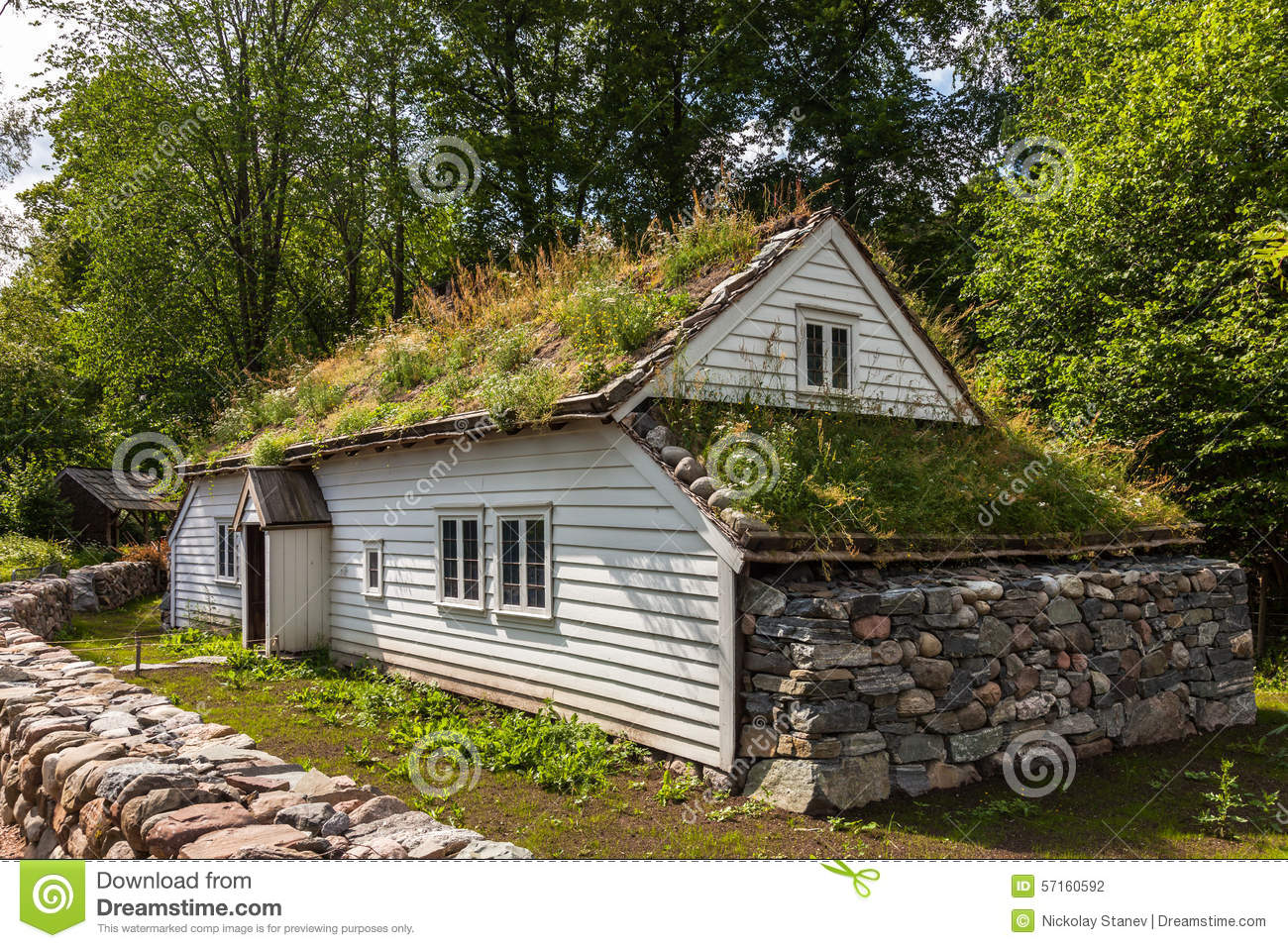 Old Norwegian House Stock Photo Image Of Green European 57160592