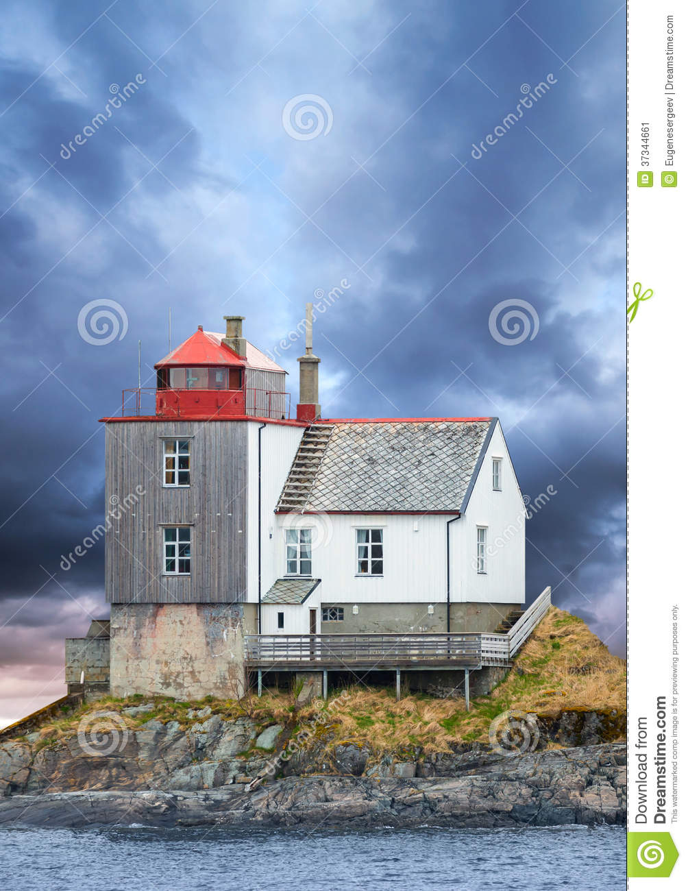 Old Norwegian lighthouse on rocky island