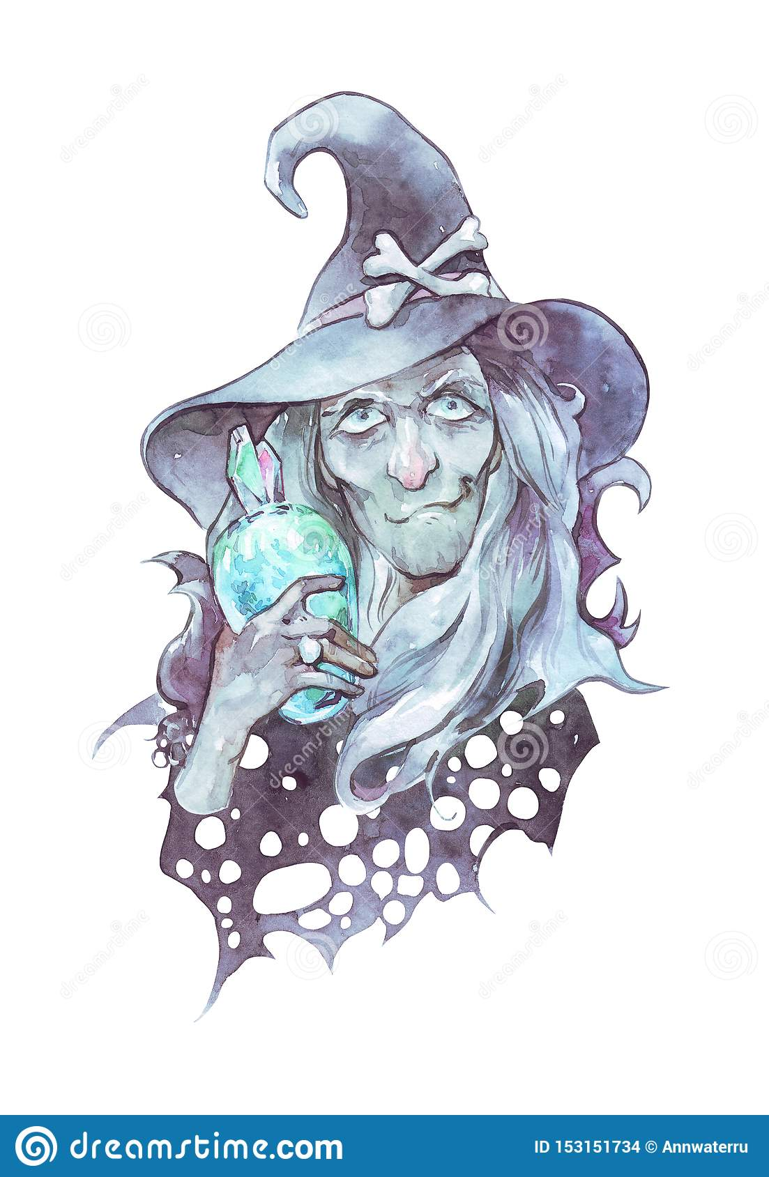Old nosed witch with magic bottle