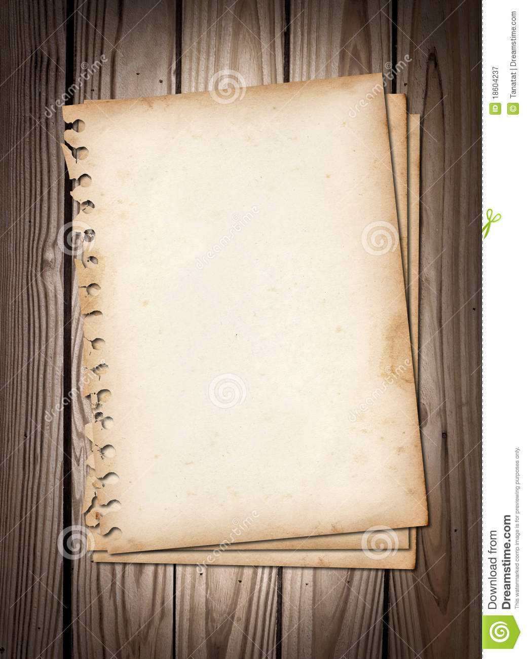 Old Note Papers On Brown Wood Texture Royalty Free Stock