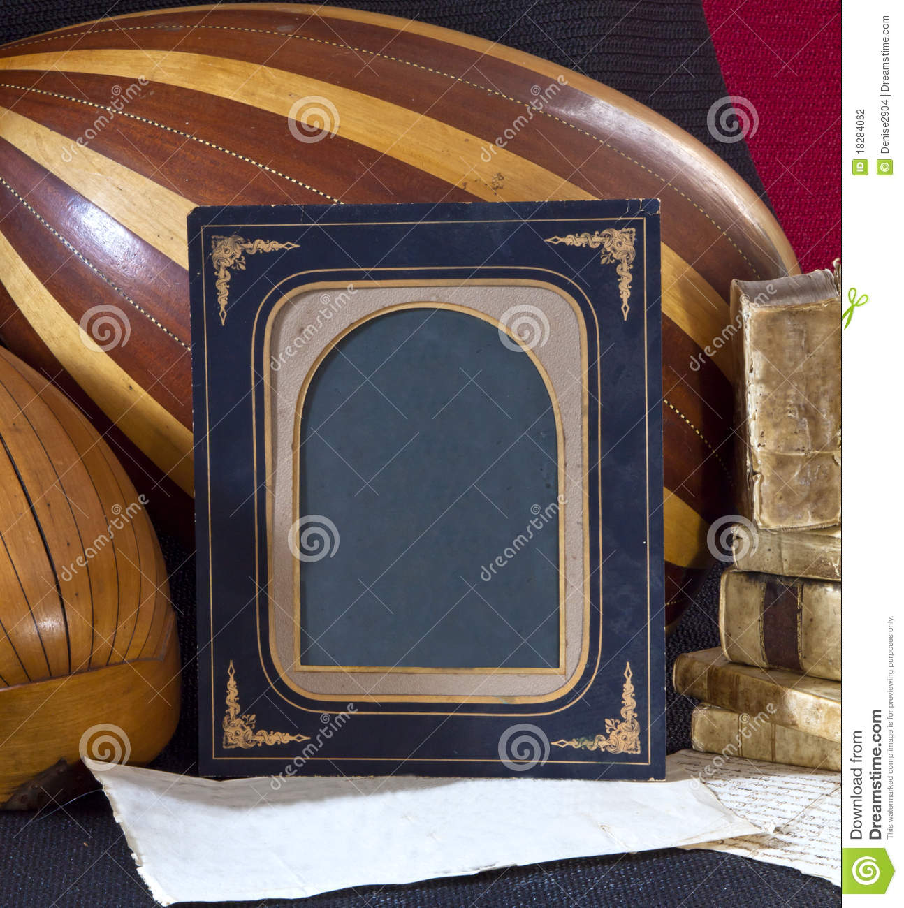 Old objects books paper lute mandolin frame stock photo for Old objects
