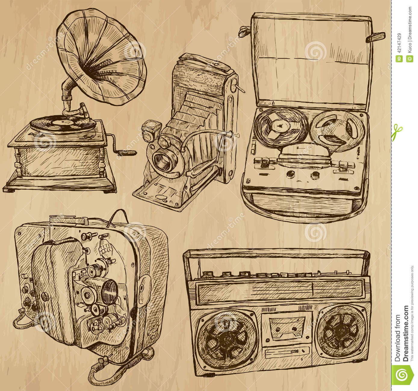 Old objects no 4 hand drawn collection stock vector for Old objects