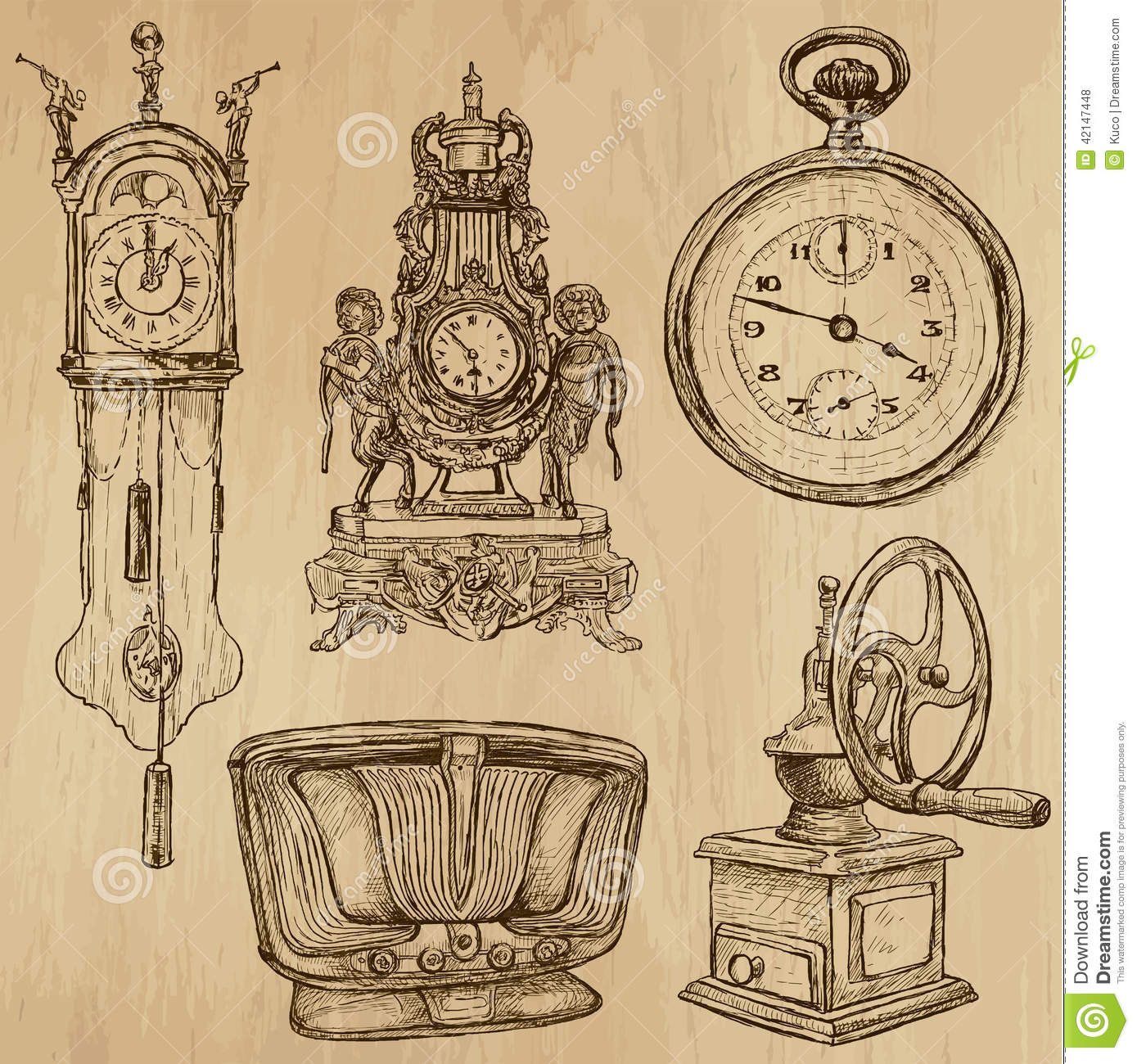Old objects no 5 hand drawn collection stock vector for Old objects