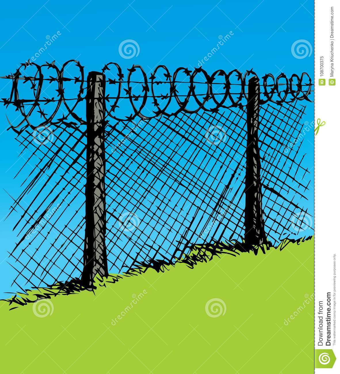 Barbed Wire. Vector Drawing Stock Vector - Illustration of forbidden ...