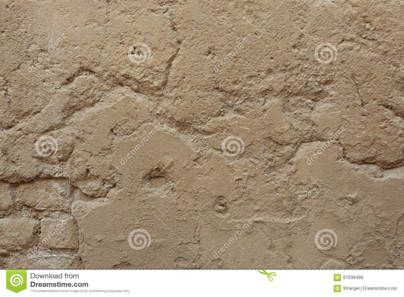 Old Ochre Painted Stucco Wall With Cracked Plaster Background T Stock Photo