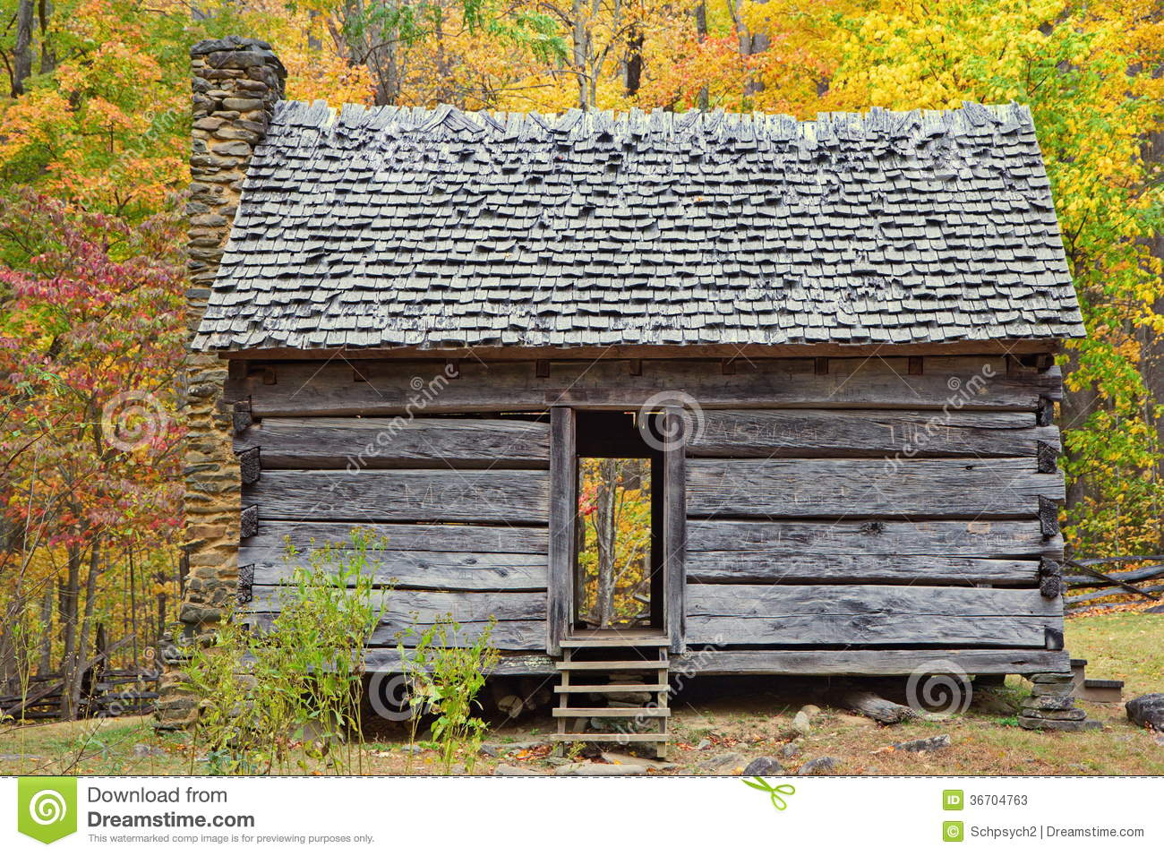 Old One Room Log Cabin During Autumn In Smoky Moun Stock