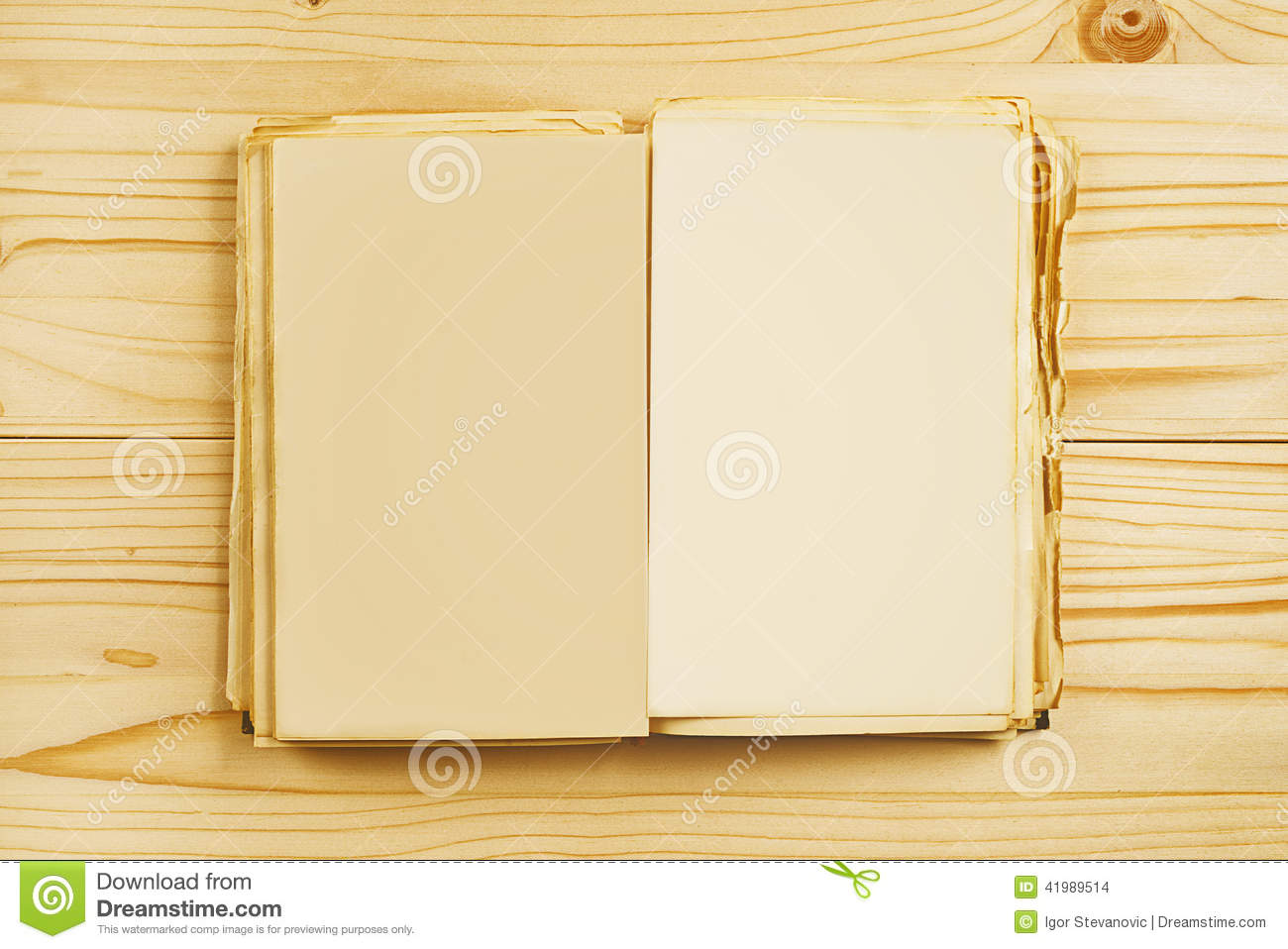 Old open book with blank pages from above stock photo for Copy design