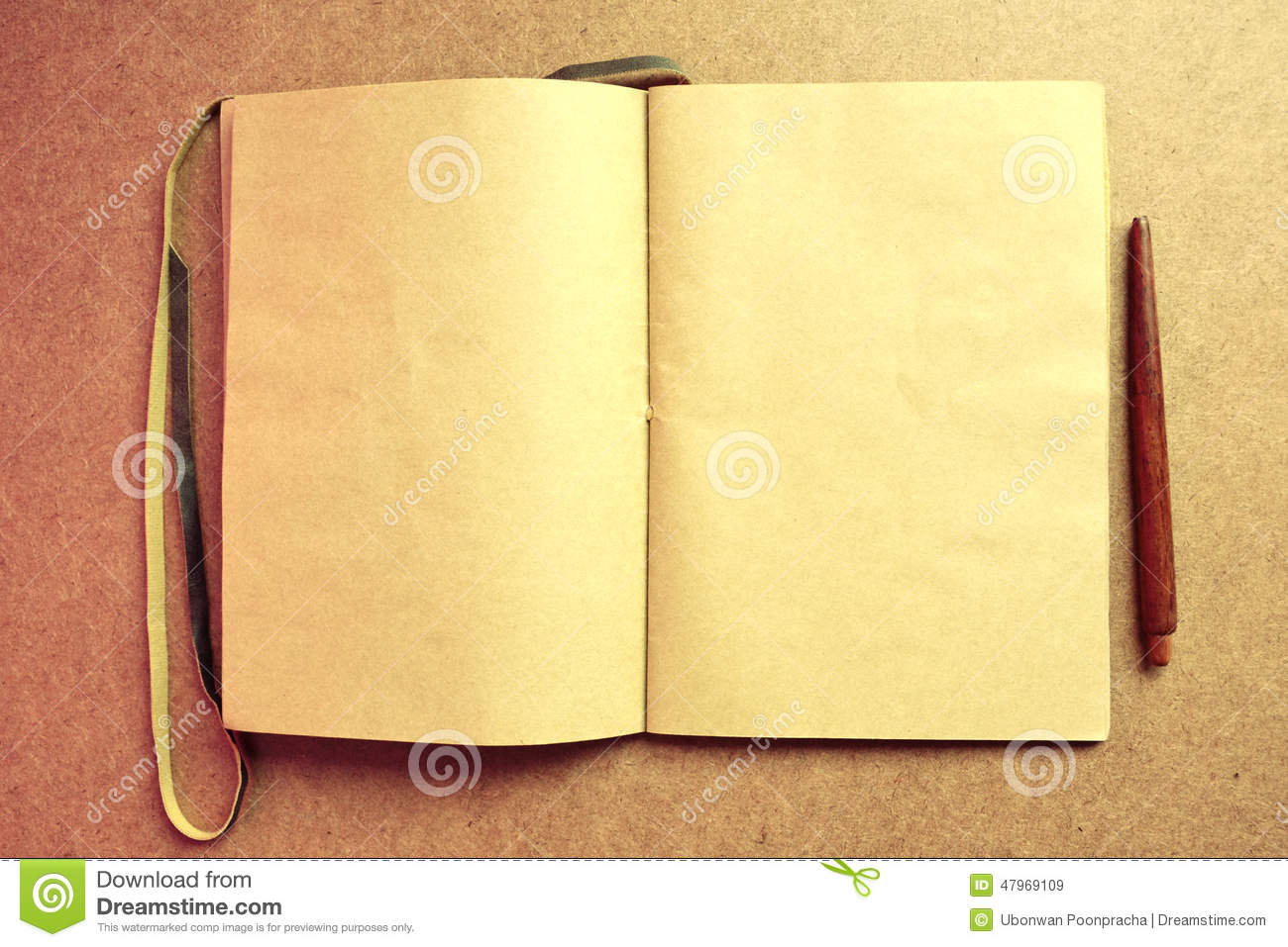 Powerpoint Backgrounds Book Cover : Old open book blank and pen on wooden background stock