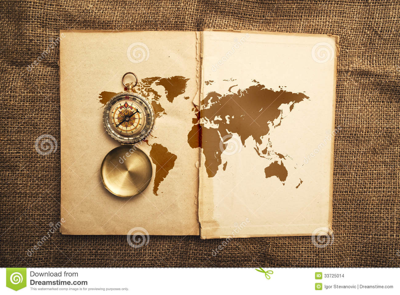 old open book with compass and world map stock images image 33725014. Black Bedroom Furniture Sets. Home Design Ideas