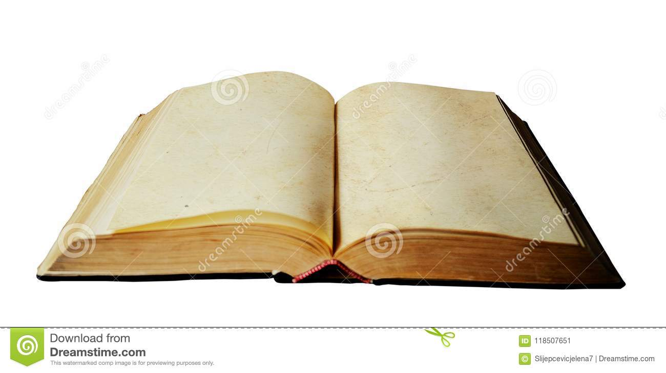 Download Old Open Book With Empty Pages Stock Image