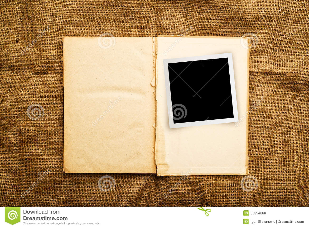 old open book with photo frame royalty free stock photos