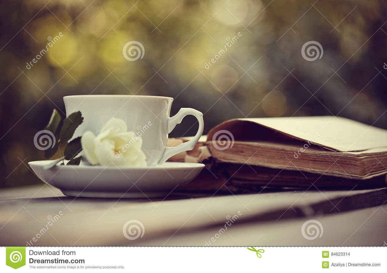Old open books and a cup with a white wild rose