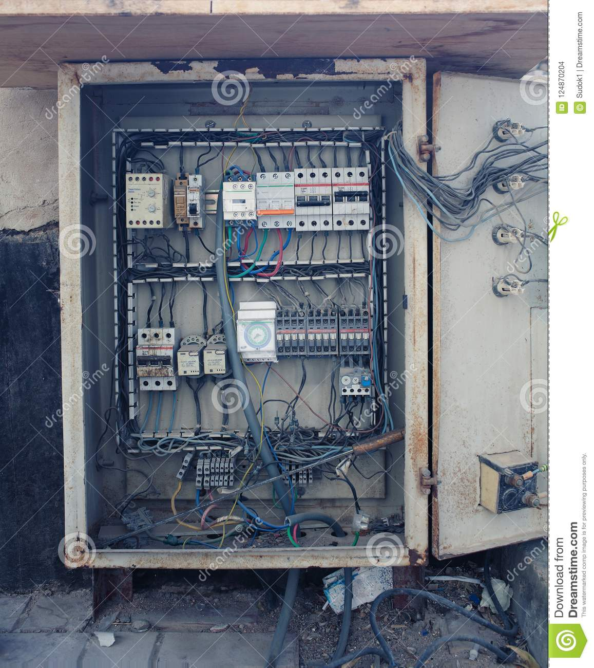 An Old Open Electrical Control Panel Box Stock Photo Image Of High Outdoor Telephone Wiring