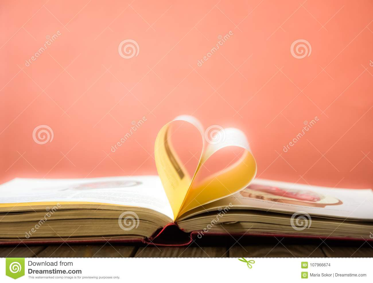 Old Open Hardback Book Page Decorate Into A Heart Shape For Love In