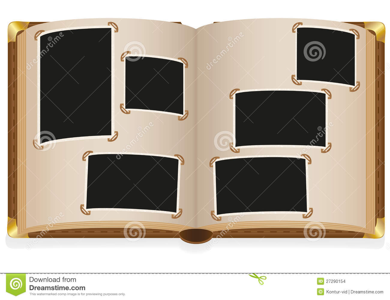 old open photo album with blank photos stock vector. Black Bedroom Furniture Sets. Home Design Ideas