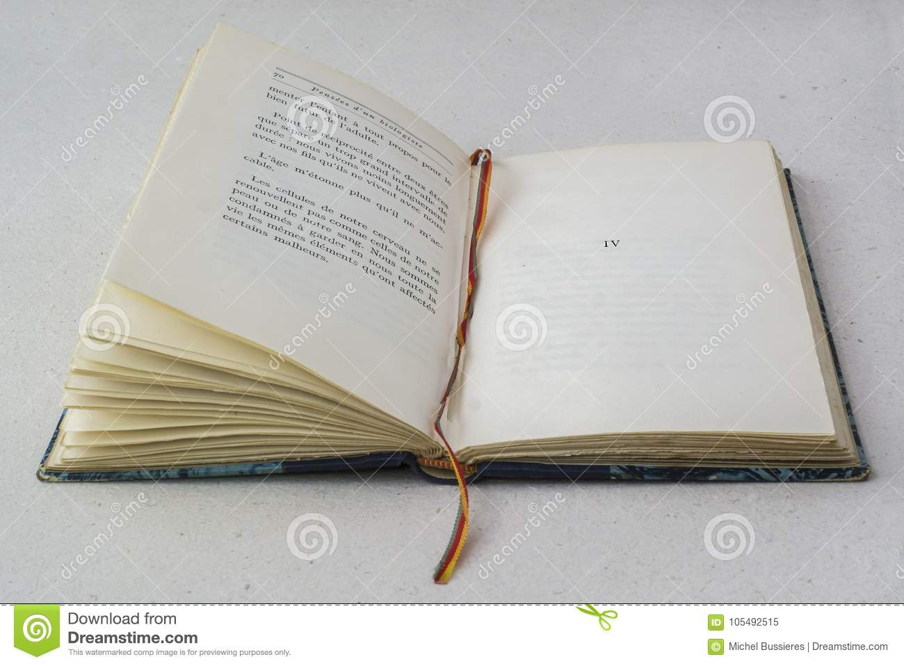 Old Open Vintage Blue Book With Bookmark Stock Image - Image of ...