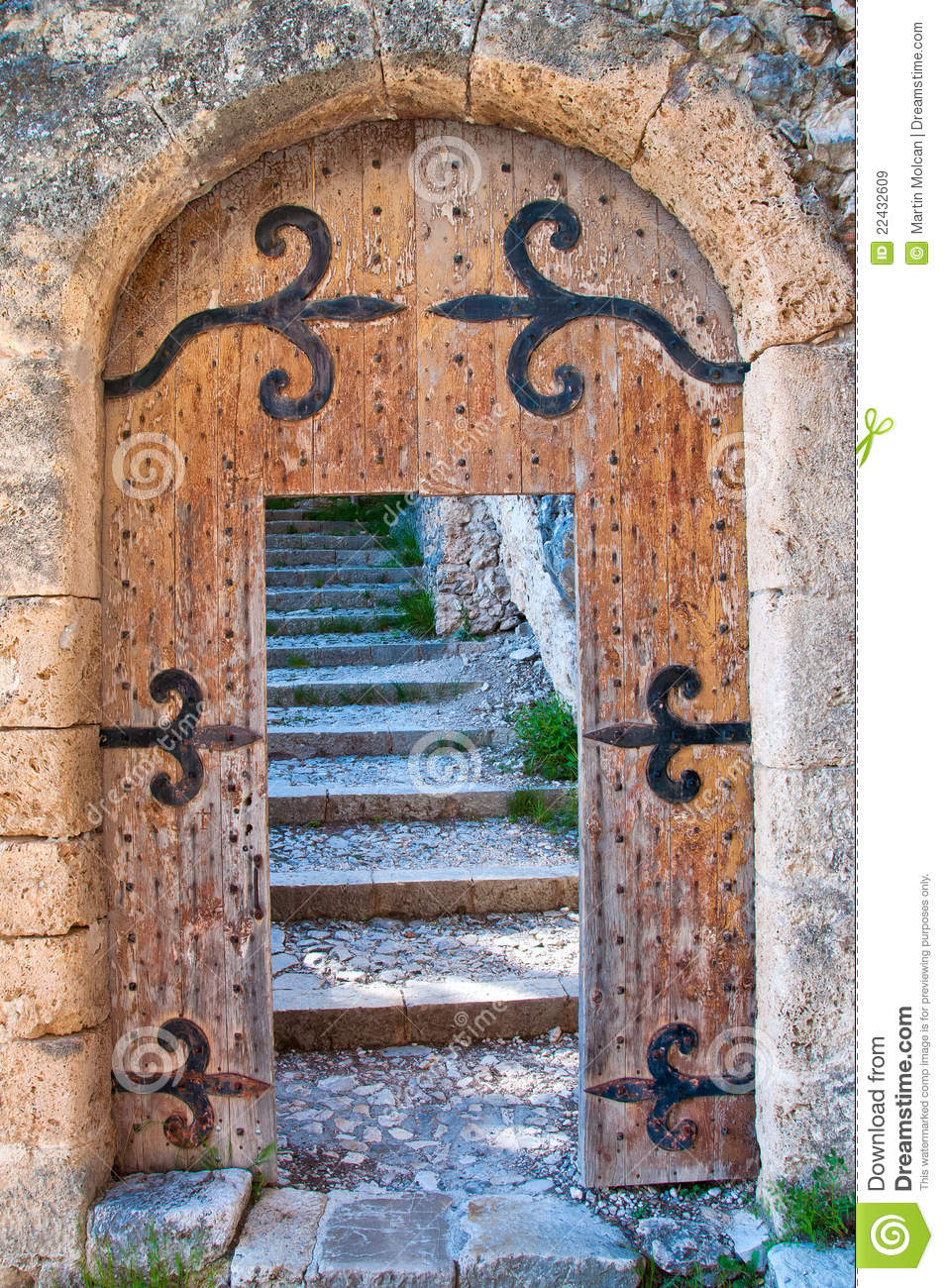 Old Open Wooden Door With Stairs Royalty Free Stock Images