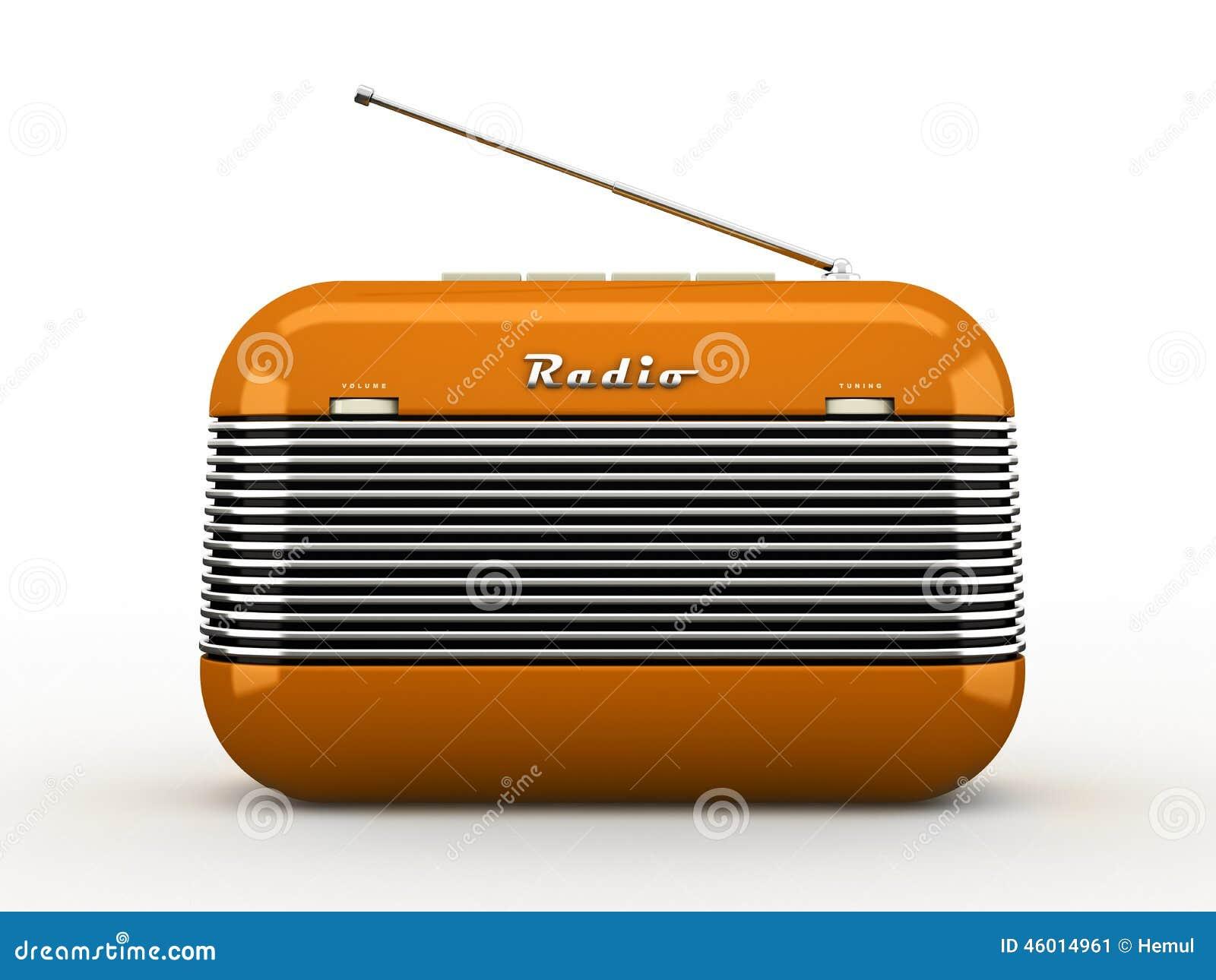 Old Orange Vintage Retro Style Radio Receiver On White