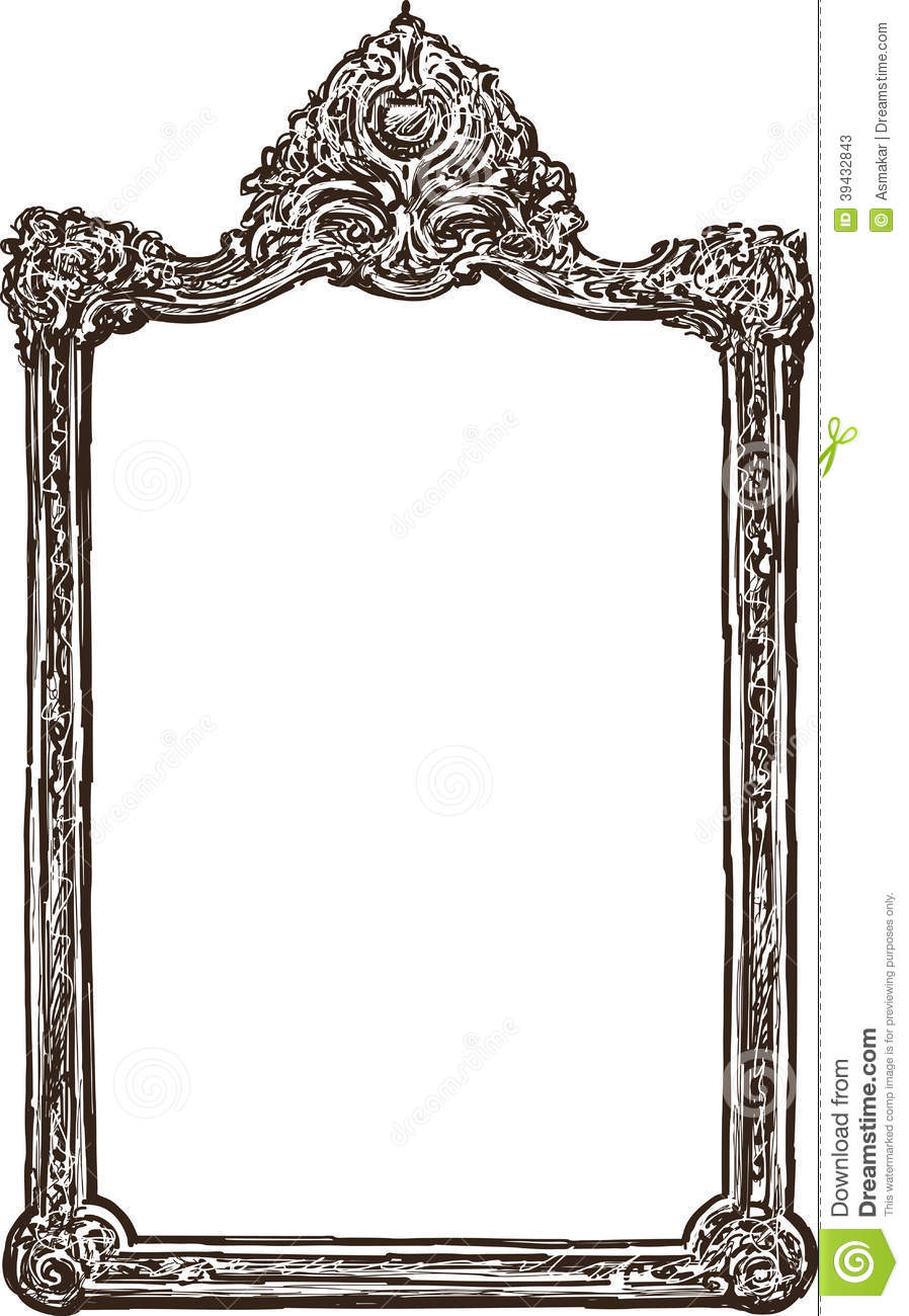 Vector drawing of the old frame in baroque style.