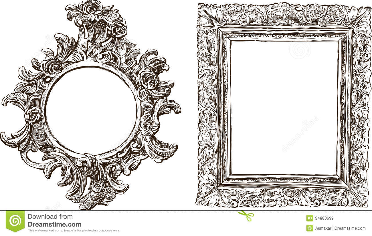 Old ornate frames stock image image of style drawn for How to make vintage frames