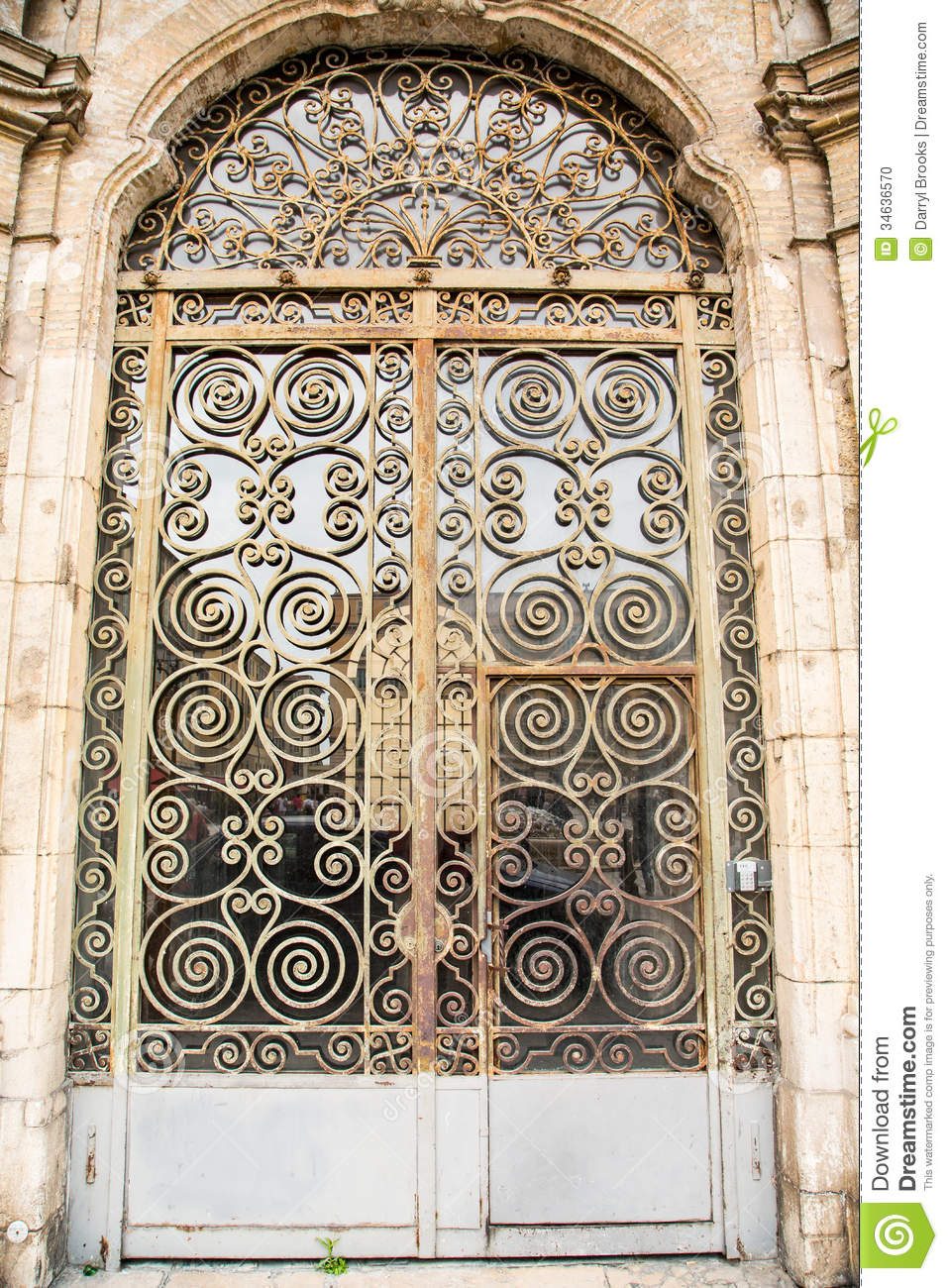 Old Ornate Scrollwork On Door Stock Photo Image Of Iron