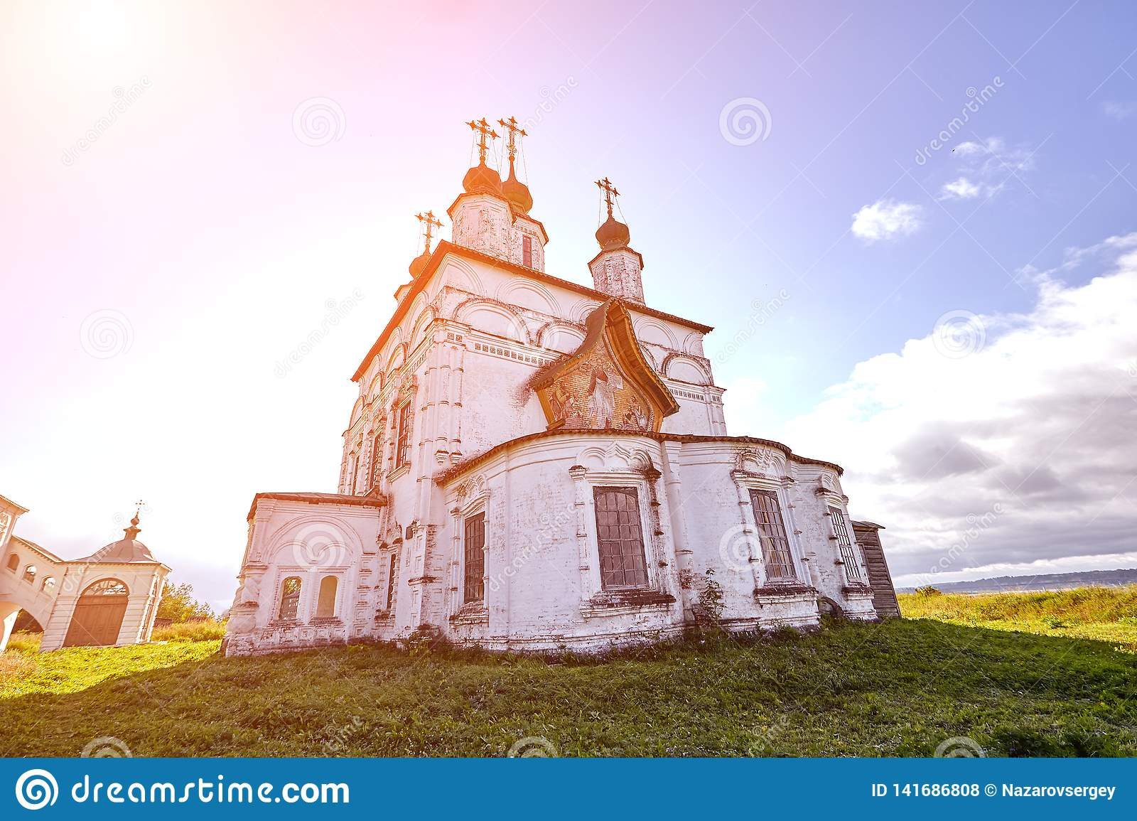 Old Orthodox Church At Village  Summer View With Floral